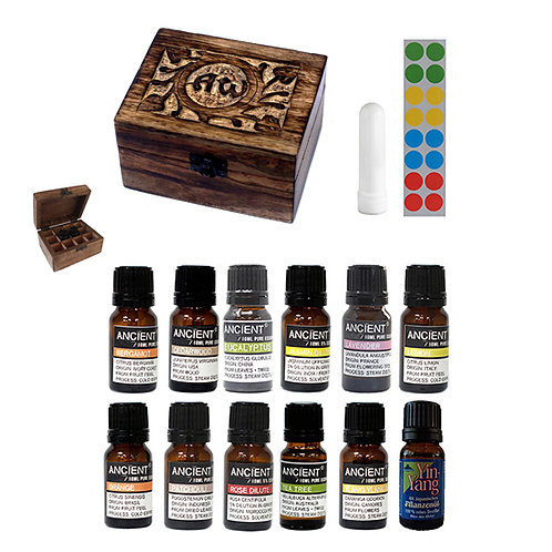 Balance pakket - 12 essential oils - AW wood - neusinhaler - stickervel