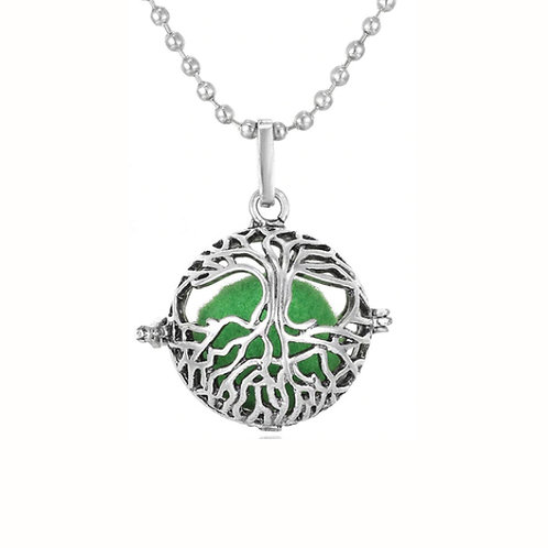 Geurketting - Tree of Life - rond - donker zilverkleur - 5 kleurenpads