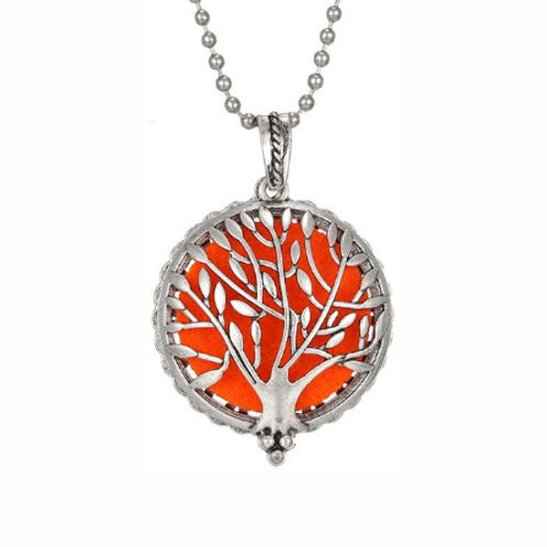 Geurketting - Tree of Life - 1 - zilverkleur - 5 kleurenpads