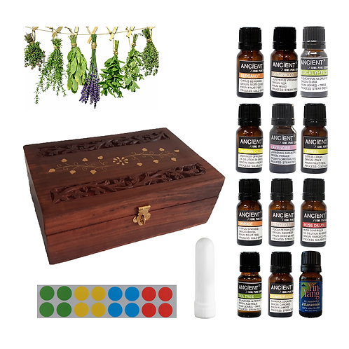 Balance 12 essential oils met box, neusinhaler en stickervel