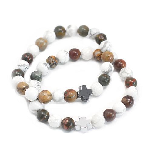 Jaspis - witte howliet - friendship bracelets