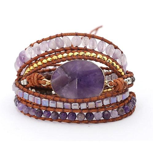 Bohemian armband Amethist - goudkleur - 5 strengen