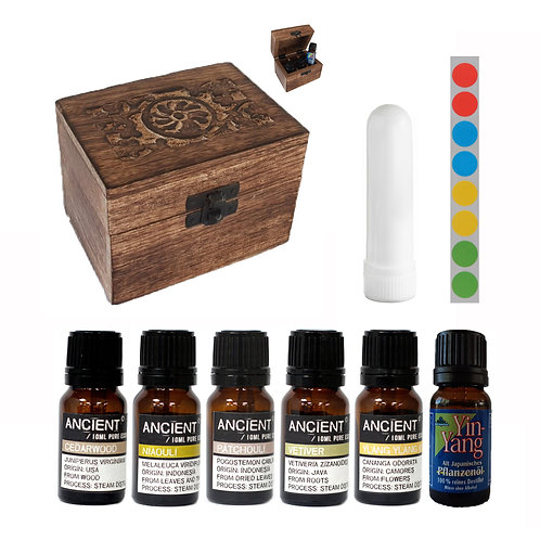 Spirits 6 etherische oliën - opbergbox wood - neusinhaler - stickervel