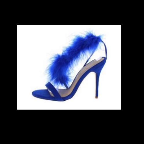 Hannah231 Blue Open Toe Feather Strap Stiletto