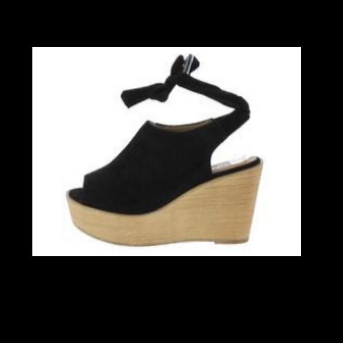 Kiteo4 Black Ankle Tie Wood Wedge Sandal