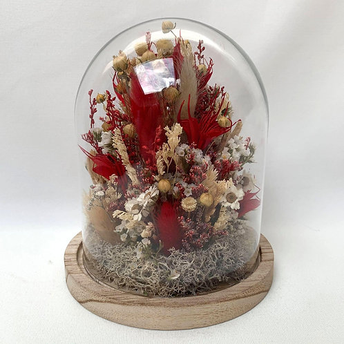 Cloche fleurs séchées - Rouge