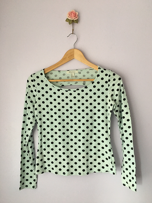 POLKA DOT TOP WITH CUT OUT BACK
