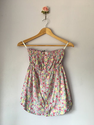 FLORAL PRINT STRAPLESS TOP