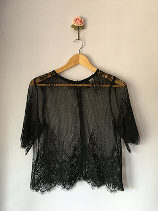 LACE TOP WITH BUTTON DOWN BACK