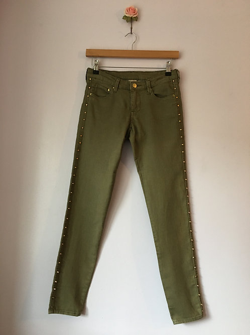 SKINNY LOW WAIST ANKLE JEANS WITH GOLD STUDS