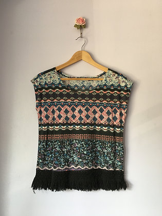 Printed T-Shirt with Frilly Hem