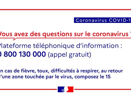 CORONAVIRUS COVID-19 : Réorganisation des services suite aux directives nationales