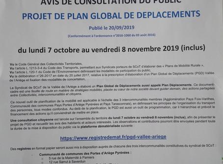 """Consultation publique - Plan """"Déplacements"""" de la Vallée de l'Ariège"""