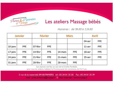 Massage bébé : ateliers gratuits