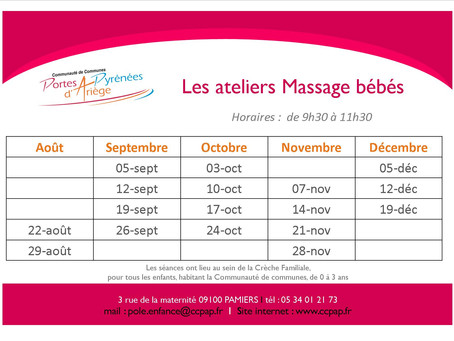 """Ateliers """"massage"""" du Pôle petite enfance"""