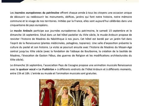 Journées Européennes du Patrimoine au Musée Ardouin !