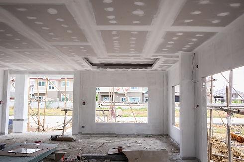 Empty room interior with gypsum board ce