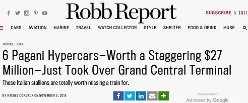 Robb Report 6 Pagani Hypercars Headline