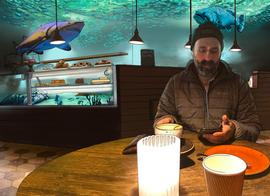 Café Aquarium, digital illustration
