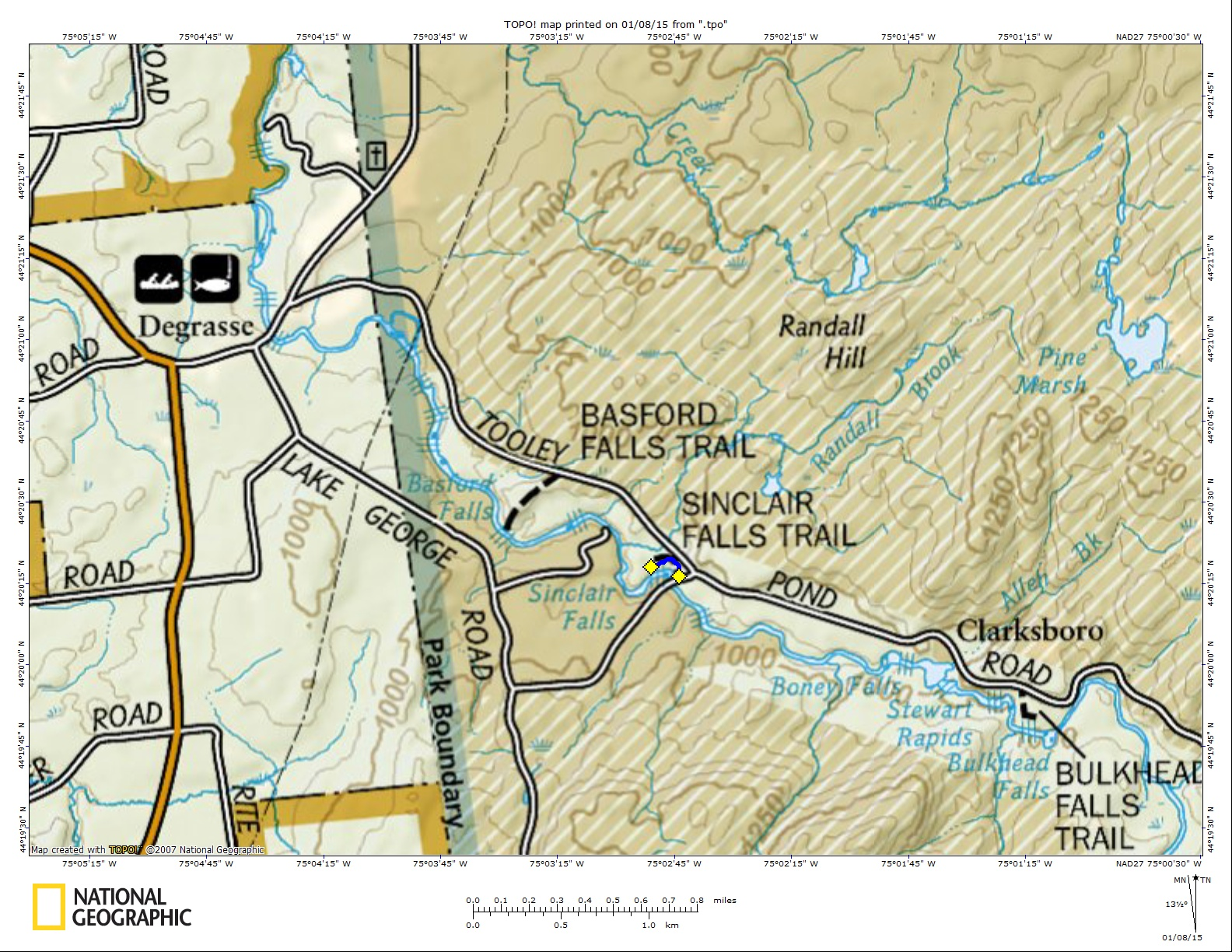 Sinclair Falls Map