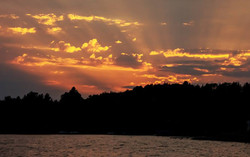 Golden sunset over Cranberry Lake