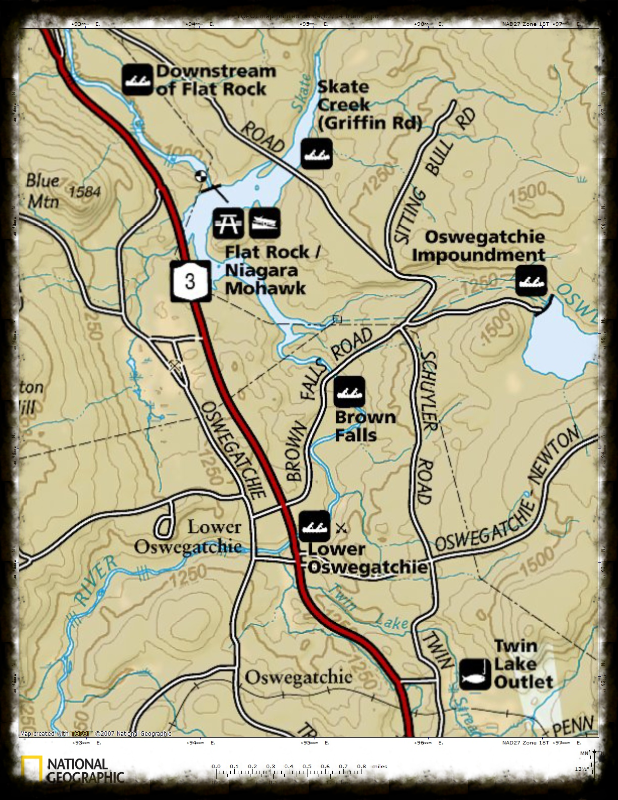 Map to Flat Rock Access Oswegatchie