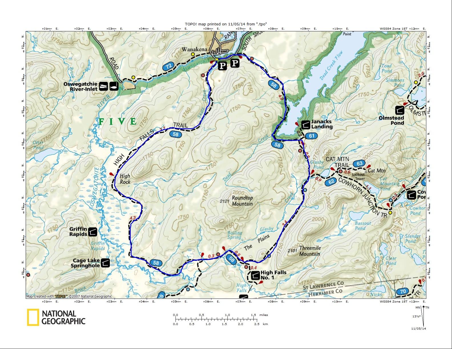High Falls Loop Map
