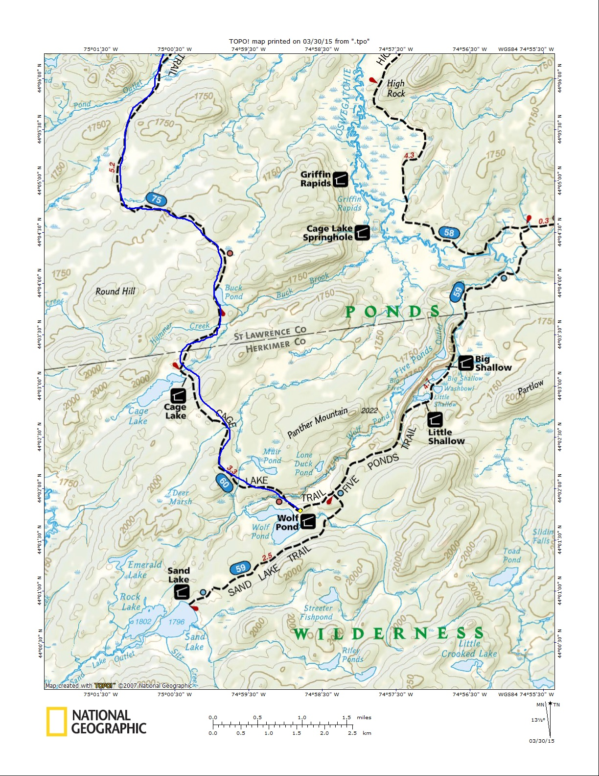 Five Ponds Wilderness Star Lake Map