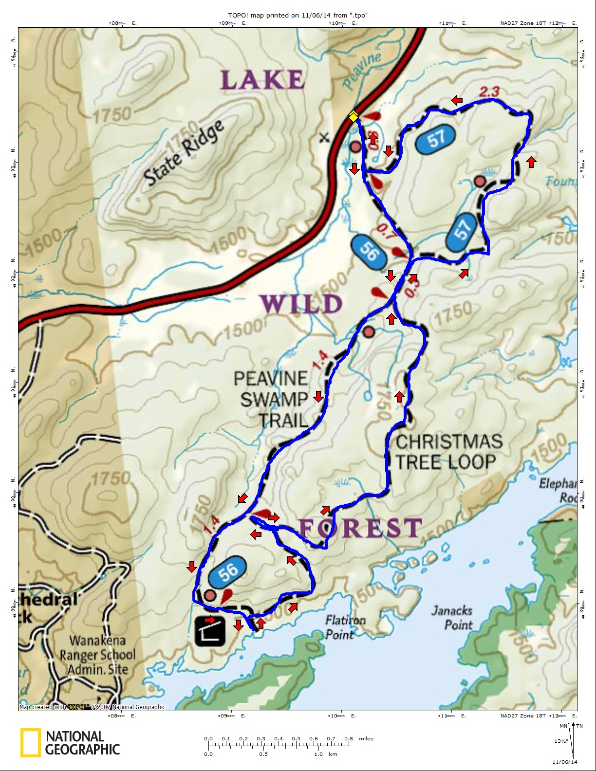 Peavine LOOPS  Map