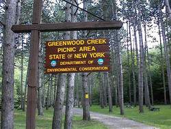 Greenwood Creek sign.