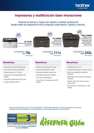 Oferta Impresora Brother HL-1210W, HL-L2360DN, MFC-L2740DW