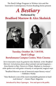 Bradford Morrow and Alex Skolnick Perform A BESTIARY