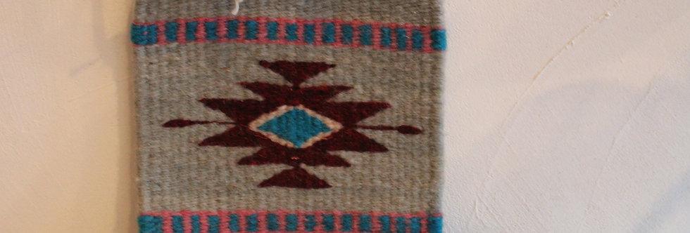 Casa Zapoteca Original Coaster 草木染めザポテックラグコースターBlue B(コチニール、インディゴ他)