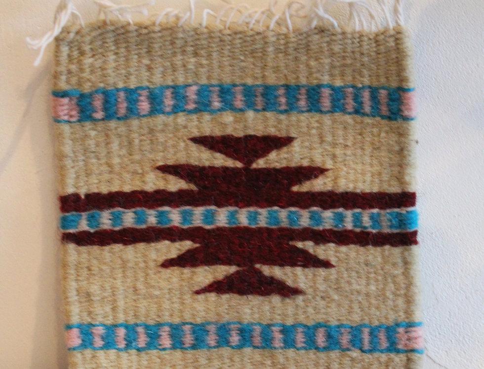 Casa Zapoteca Original Coaster 草木染めザポテックラグコースター ベージュ B(コチニール、インディゴ他)