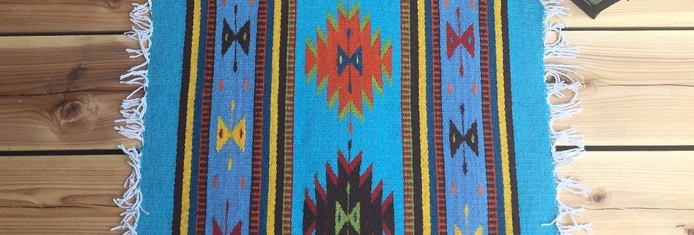 ザポテックラグ Sバタフライ(ライトブルーxスカイブルー)約50x40cm