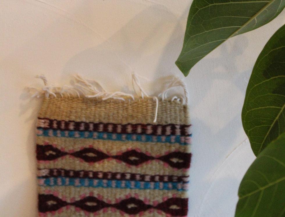 Casa Zapoteca Original Coaster 草木染めザポテックラグコースター ベージュ A(コチニール、インディゴ他)