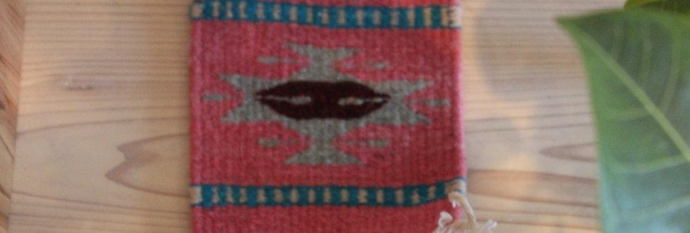 Casa Zapoteca Original Coaster 草木染めザポテックラグコースターPink B(コチニール、インディゴ他)