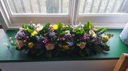 Long windowsill arrangement