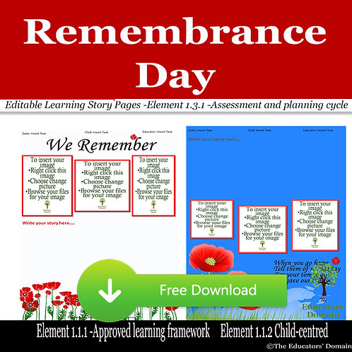 Remembrance Day Learning Story Pack