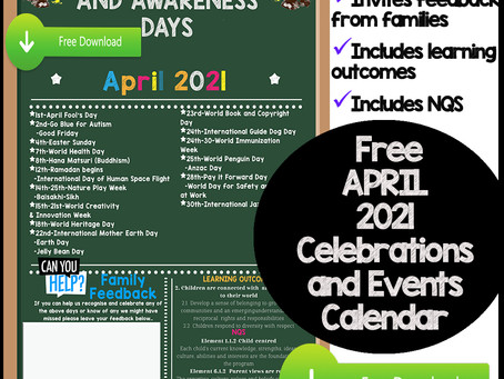 April Events and Awareness Days for Early Childhood Services