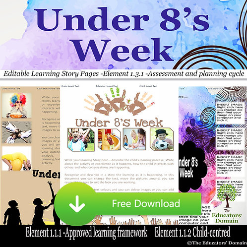 Under 8's Week Learning Story Pack