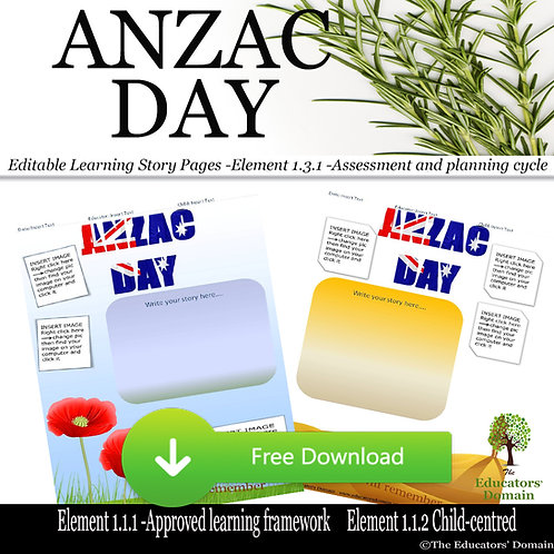 ANZAC DAY Learning Story Pack