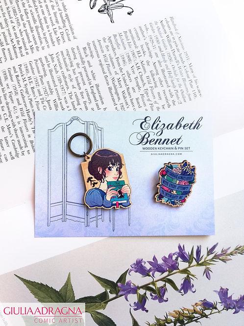 ELIZABETH BENNET | PRIDE AND PREJUDICE • keychain + pin set