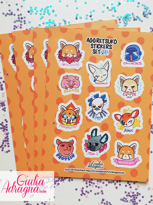 ANGRY RED PANDA stickers set