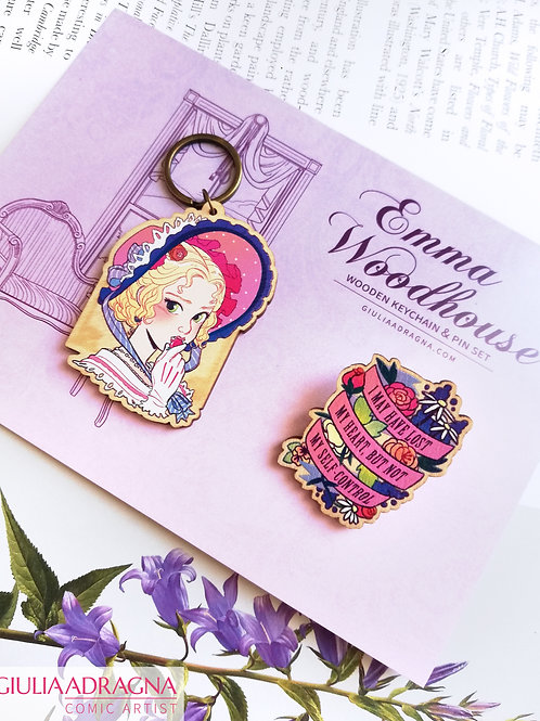 EMMA WOODHOUSE • wooden keychain + pin set