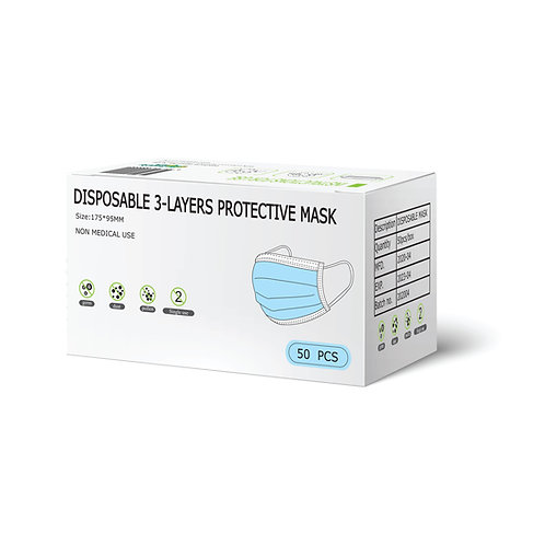 SUPPLYAUS DISPOSABLE 3-LAYERS PROTECTIVE MASK