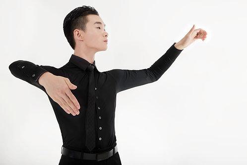 Ads製ダンス用ストレッチワイシャツ(黒)