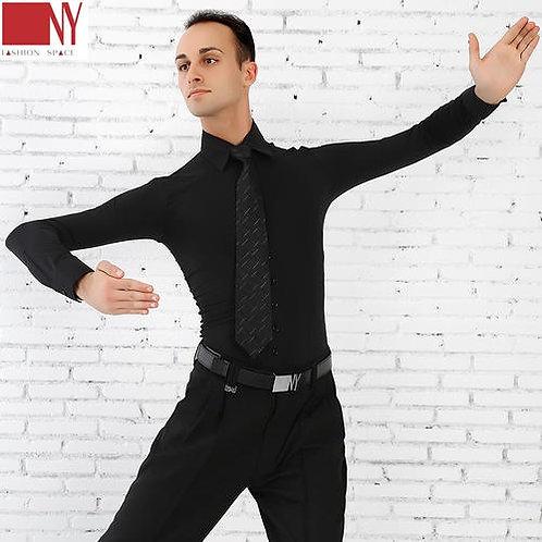 NY製ダンス用ストレッチワイシャツ(黒)【NY16610】