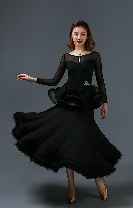 ペプラムデザインのボールルームドレス【 Dream-M152】