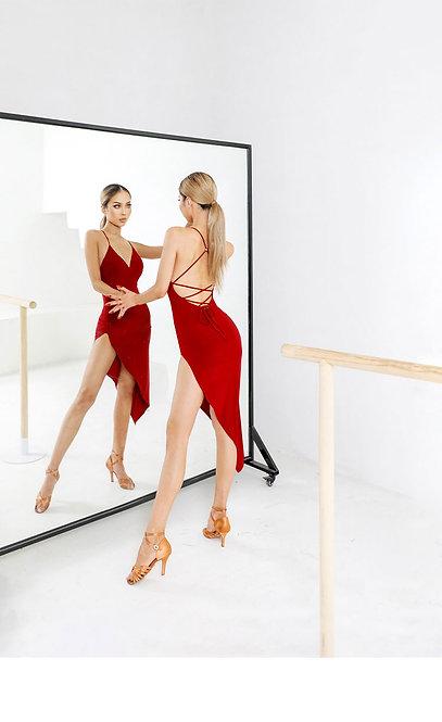 「Tango Red Dress」 ラテンワンピース【ZYM2117】